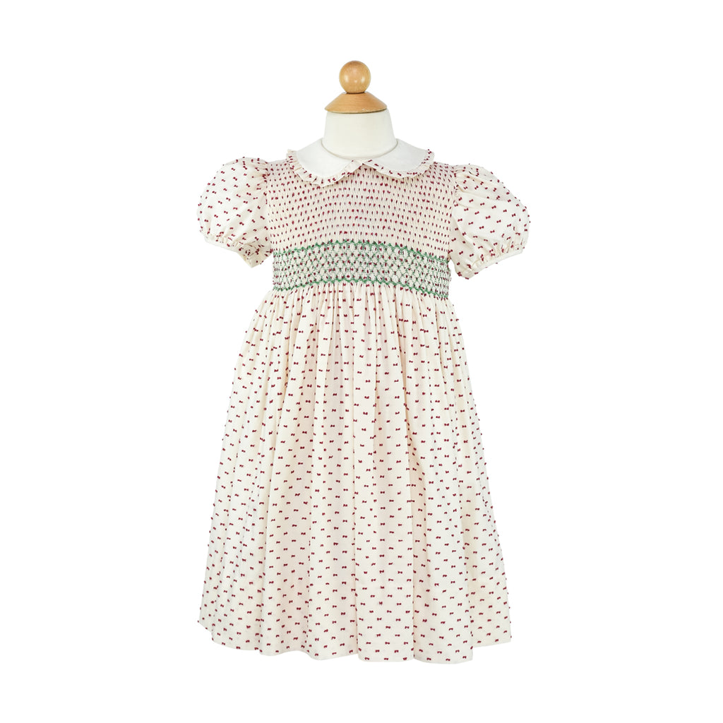 Smocked Frock Dress- Red Plumetti Sample Size 7