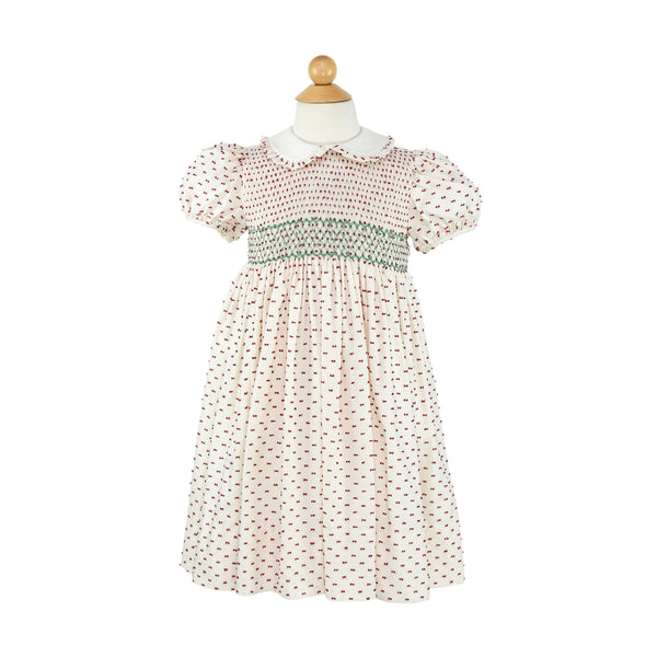 Smocked Frock- Red Plumetti