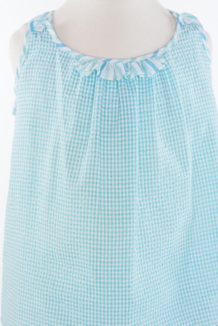 Sofia Swing Top - Aqua Seersucker Gingham