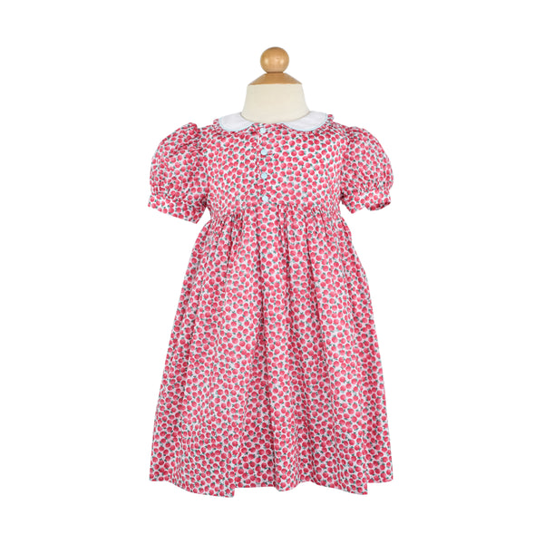 Side Button Dress- Pink Poppies-AKF