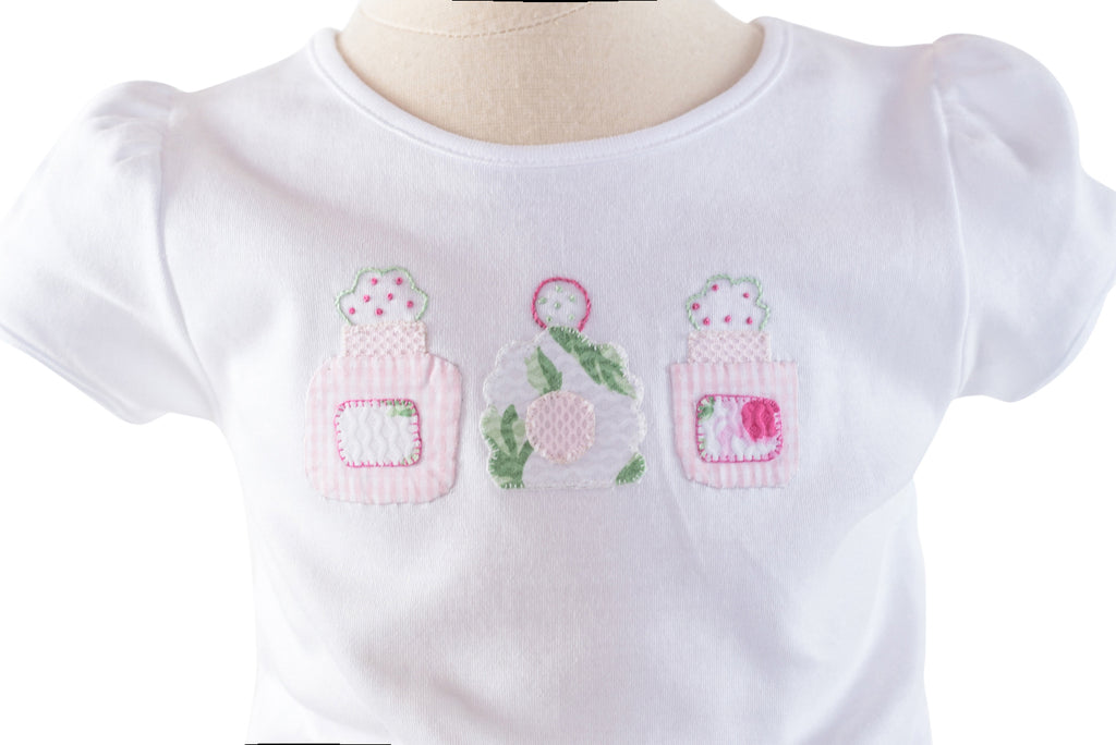 Perfume Bottles Applique Shirt - French Rose Pique Fabric