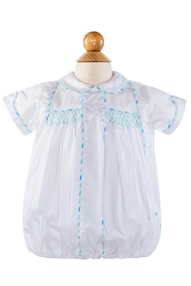 Smocked Yoke Bubble - White Pique with Aqua Stripe Fabric