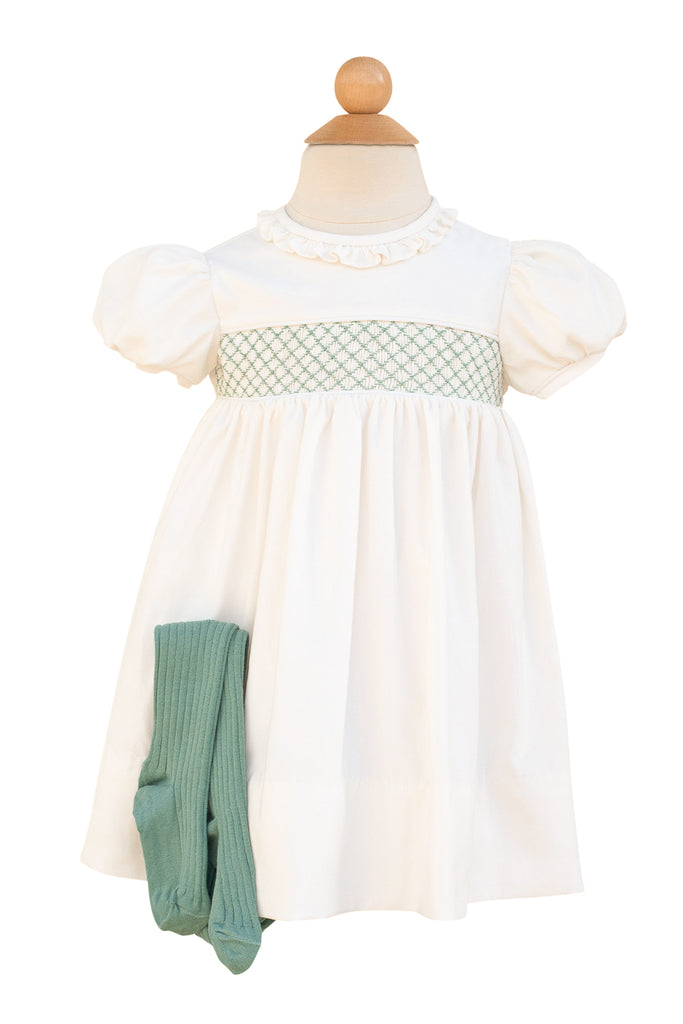 Milk White Dress with Green Smocking- Sample Size 4T