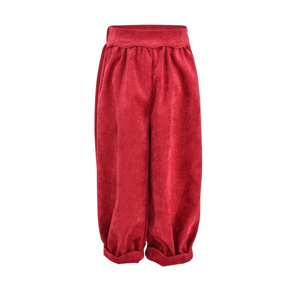 Scalloped Bloomer Pant- Berry Non Wrinkle Corduroy Sample Size 4T