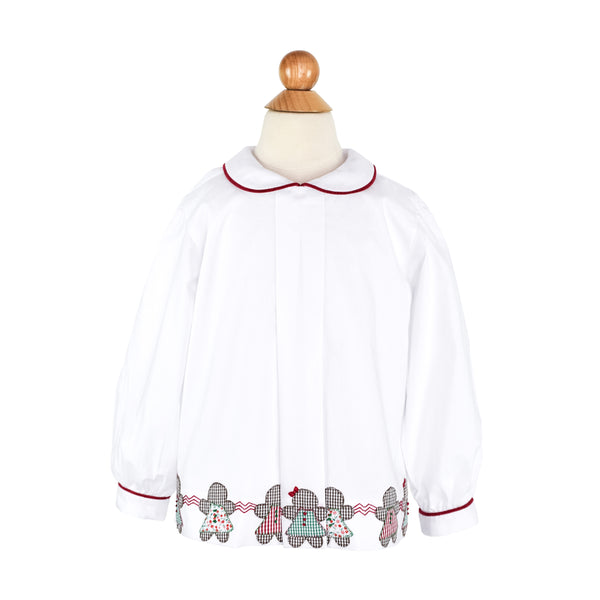 Gingerbread Girls Blouse- White Cotton with Red Corduroy Trim