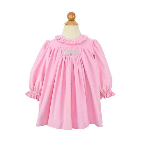 Louise Smocked Christmas Tree Dress- Pink Corduroy