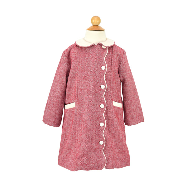 Pre-Order Girl Coat and Bonnet-Red Wool