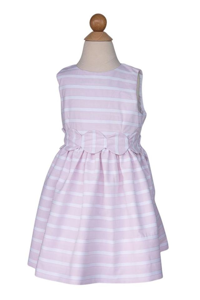 Scalloped Sash Dress in Pink Ribbed Stripes