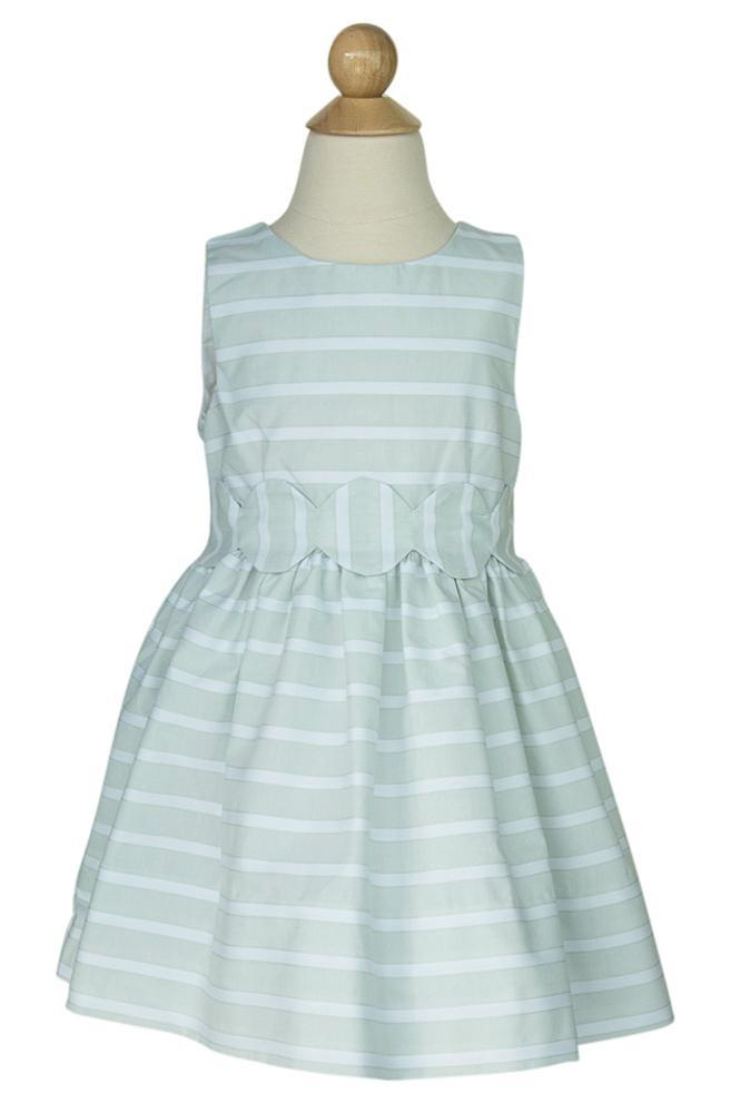 Scalloped Sash Dress in Mint Ribbed Stripe