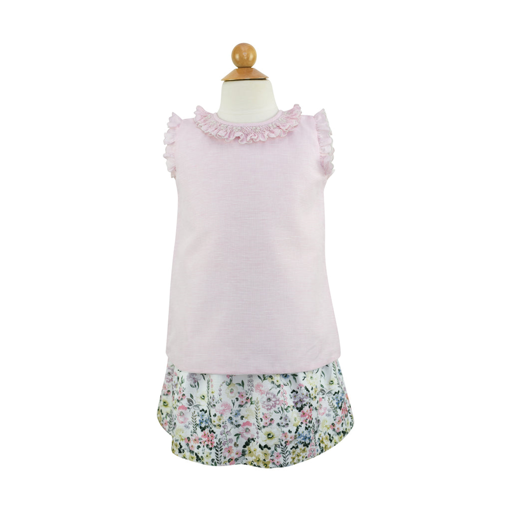*Smocked Angel Sleeve  Blouse- AKF