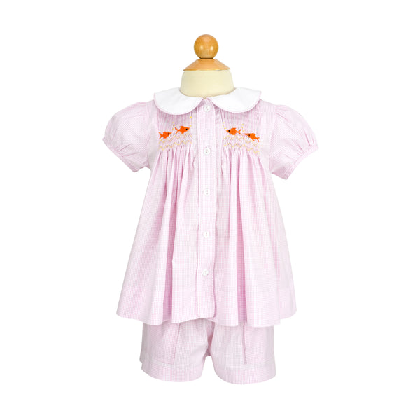 Girls Smocked Goldfish Blouse