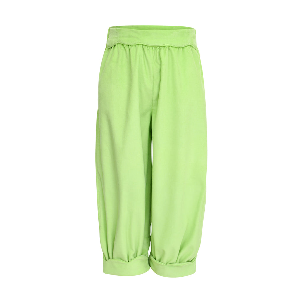 Scalloped Bubble Pant in Lime Corduroy