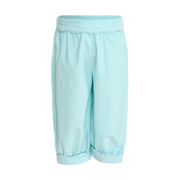 Scalloped Bubble Pant in Aqua Corduroy