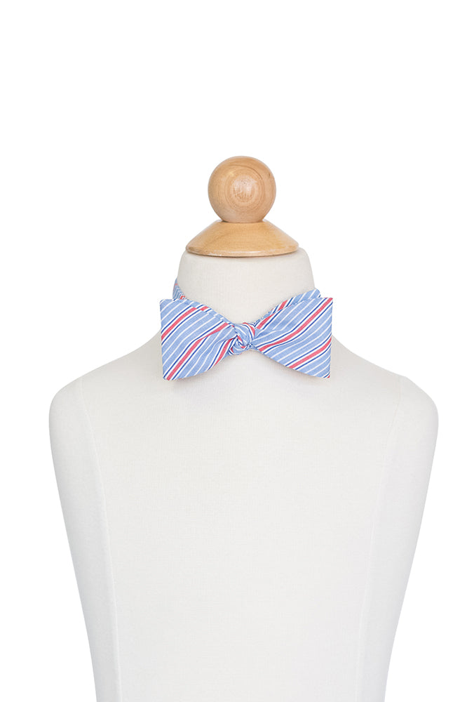 Bow Tie in Blue and Red Stripe- Sample