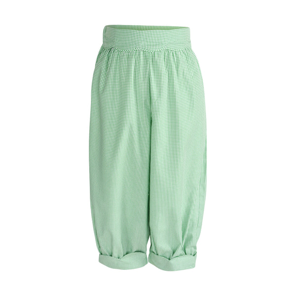 Scalloped Bloomer Pant in Green Gingham