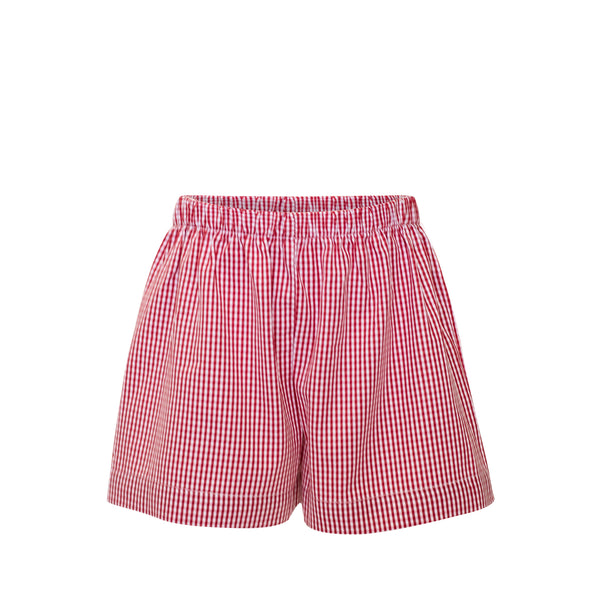 Wade Shorts - Red Gingham Fabric