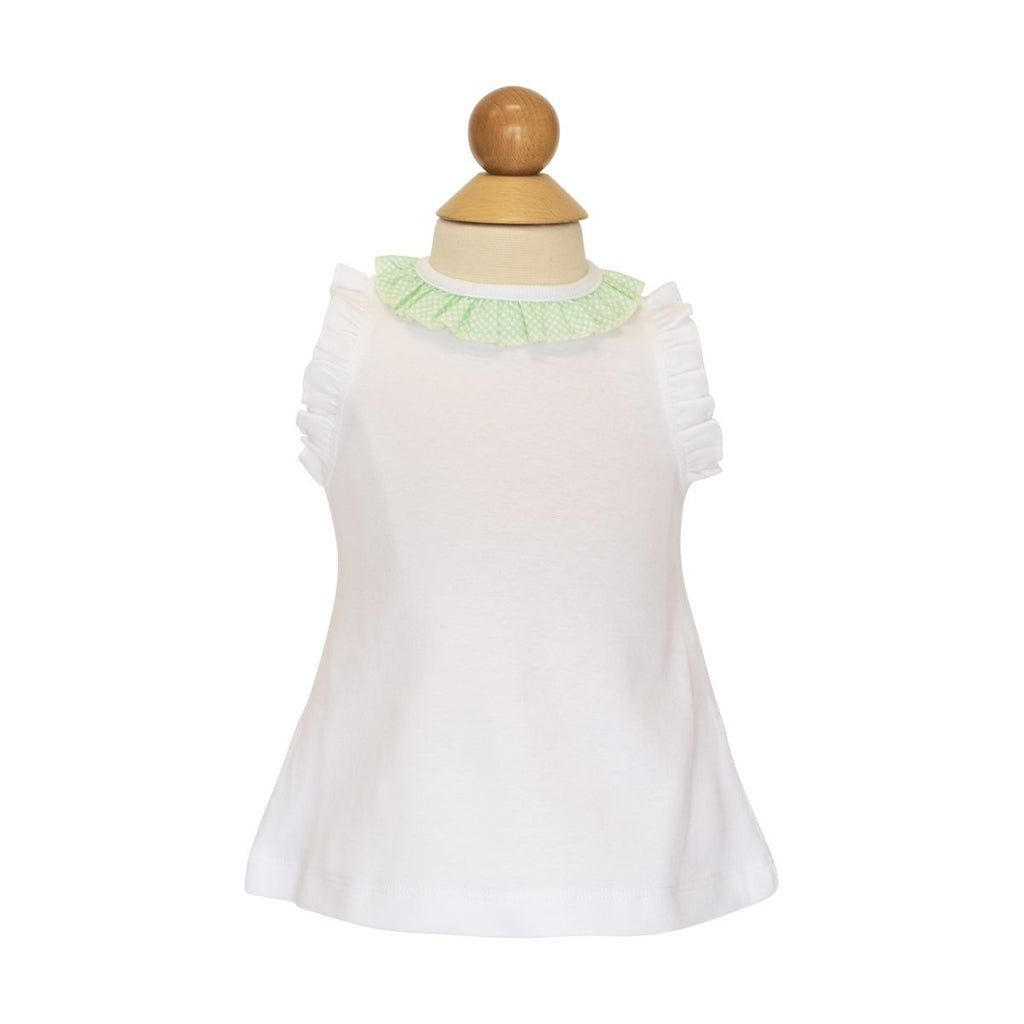 *Sleeveless Ruffle Tee- Grass Bitty Dot- AKF