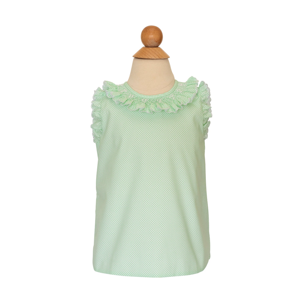 Smocked Angel Sleeve Blouse - Grass Bitty Dot