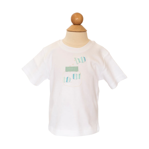 Fish in Bowl Applique Shirt - Aqua Stripe Fabric
