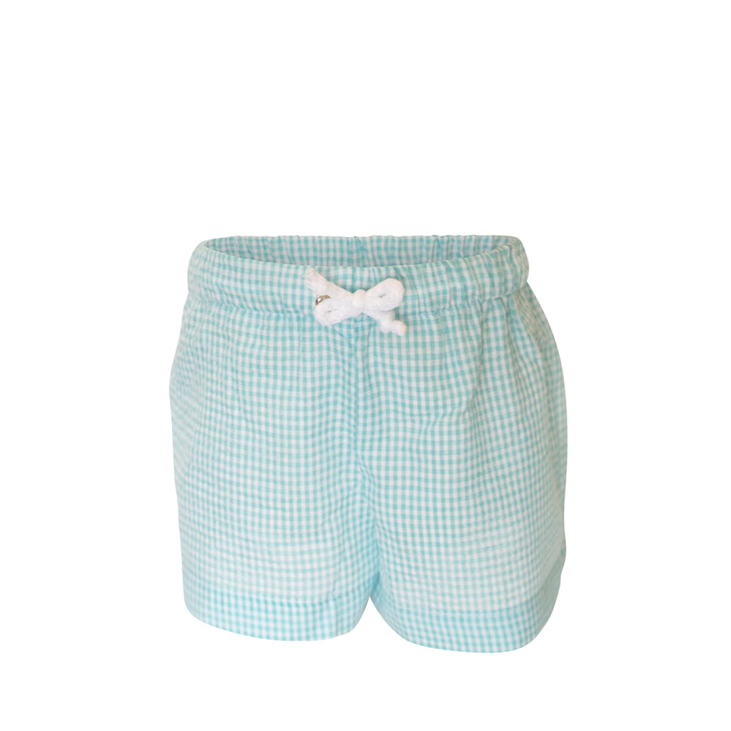 Swimsuit - Boy- Aqua Seersucker Gingham