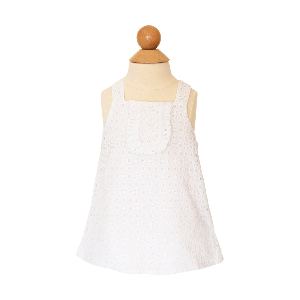 Caroline Blouse - White Eyelet Fabric