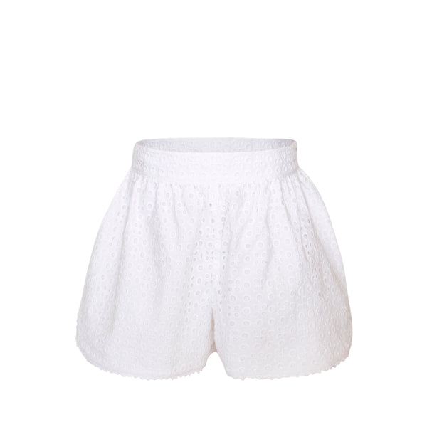 Carolyn Shorts - White Eyelet Fabric