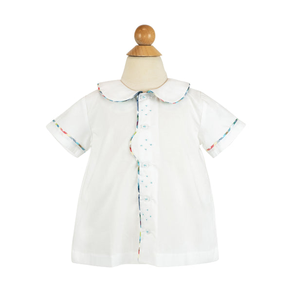 *Jackson Shirt- White Cotton with Spanish Tri check piping- AKF