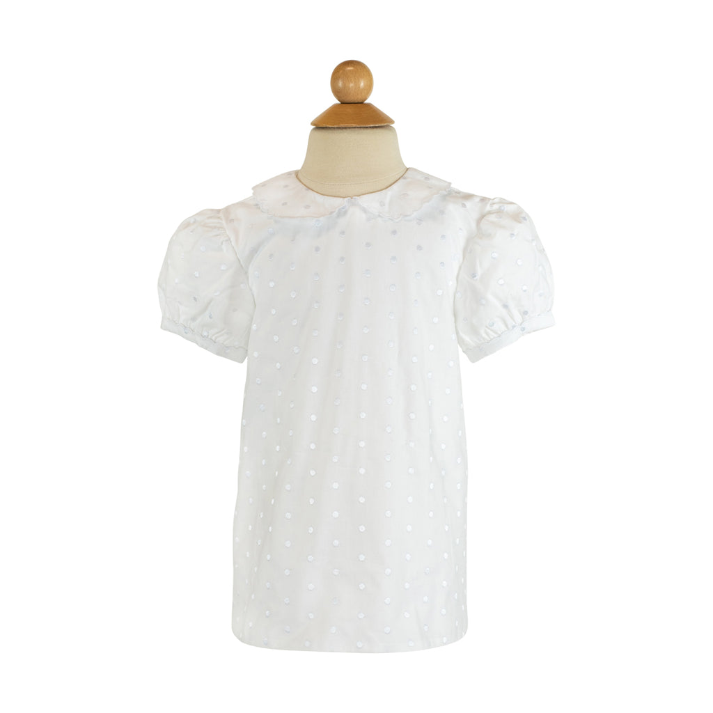 Basic Peter Pan  Blouse- Embroidered White Dot