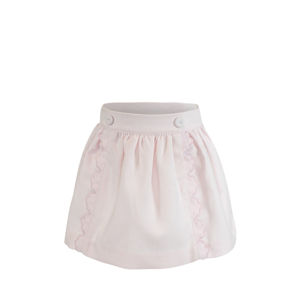 Scalloped Skirt - Pink Birdseye Pique