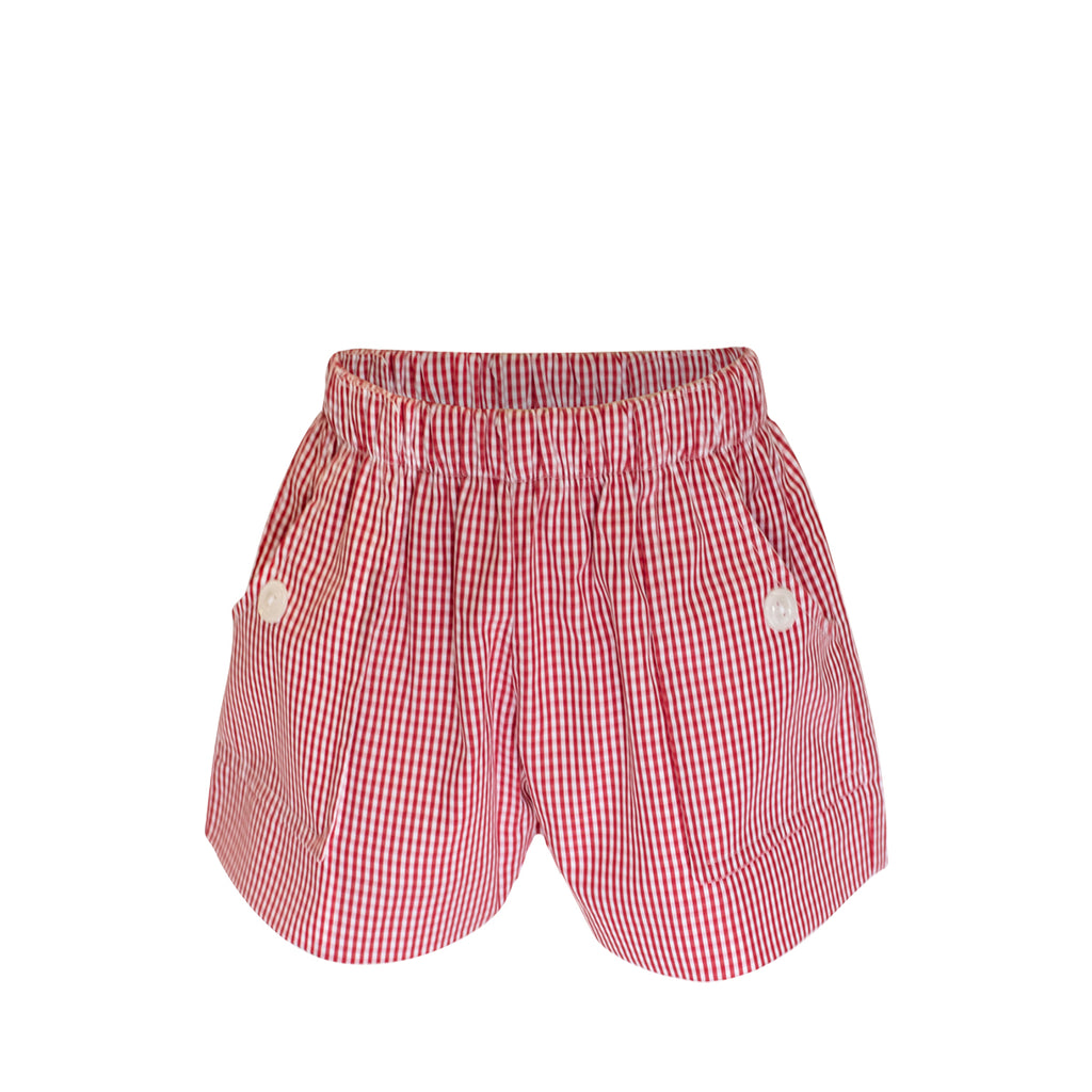 Emme Shorts - Red Gingham Fabric