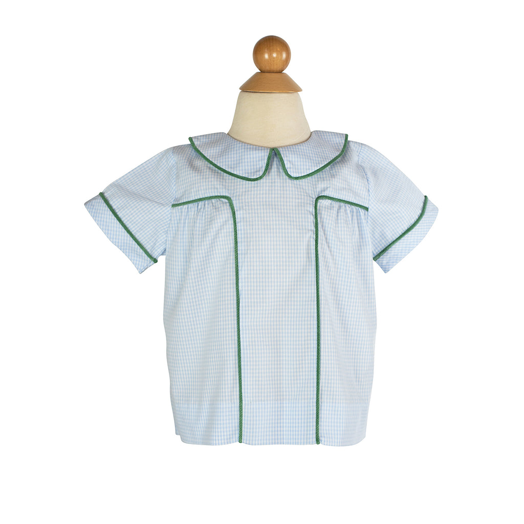 Harry Shirt- Blue Gingham with Grass Corduroy-AKF