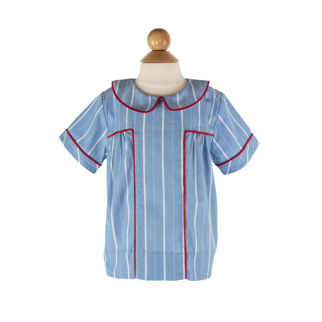 Harry Shirt in Blue/White Stripe and Red Corduroy