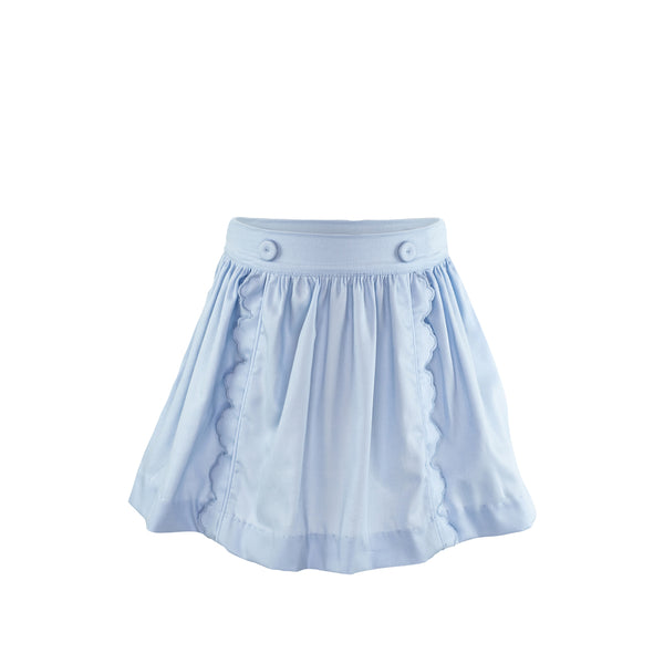 Scalloped Skirt - Blue Pique