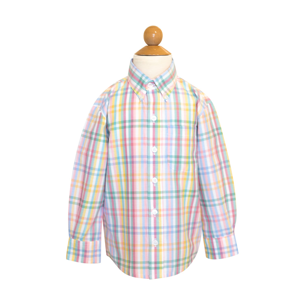 *Button Down  Shirt - Pastel Check- AKF