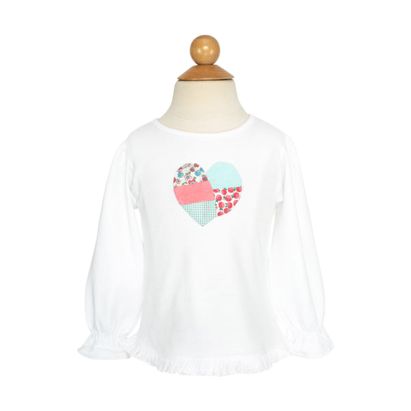 Patchwork Heart Applique Shirt-AKF