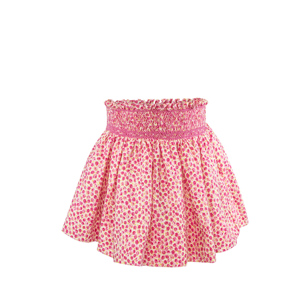 Smocked Skirt - Hot Pink Floral Linen