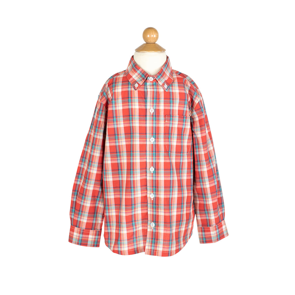 Button Down Shirt in Red Plaid- AKF