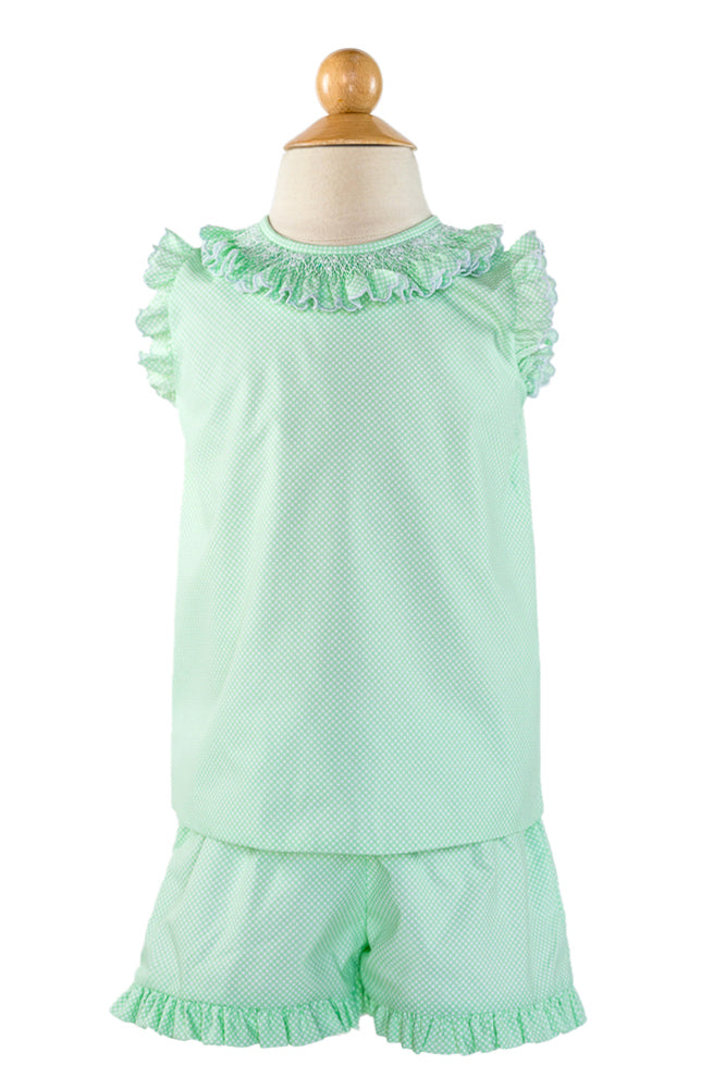 Smocked Angel Sleeve Blouse - Green Bitty Dot Fabric
