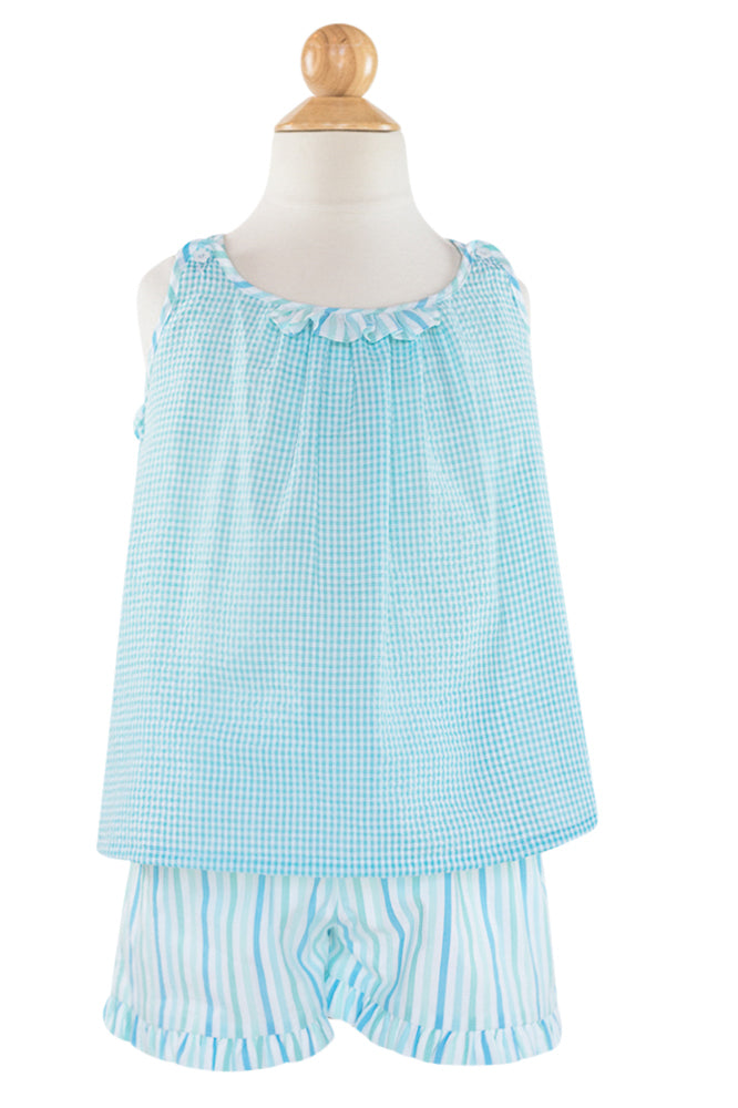 Sofia Swing Top- Aqua Seersucker Size 6