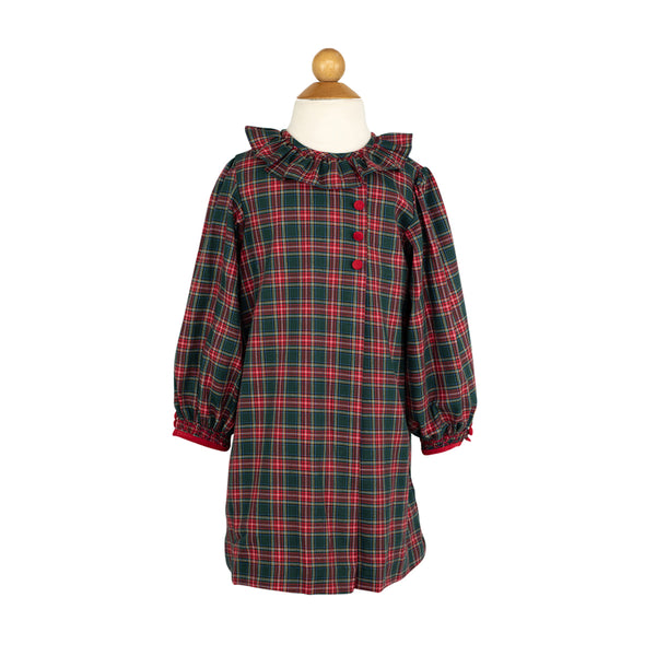 Long Sleeve Apron Dress in Tartan Plaid