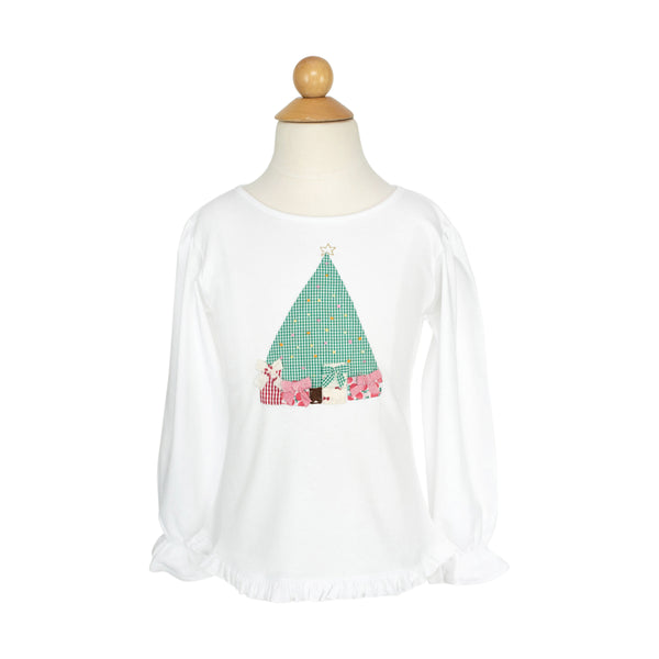 Girl Christmas Tree Applique Shirt