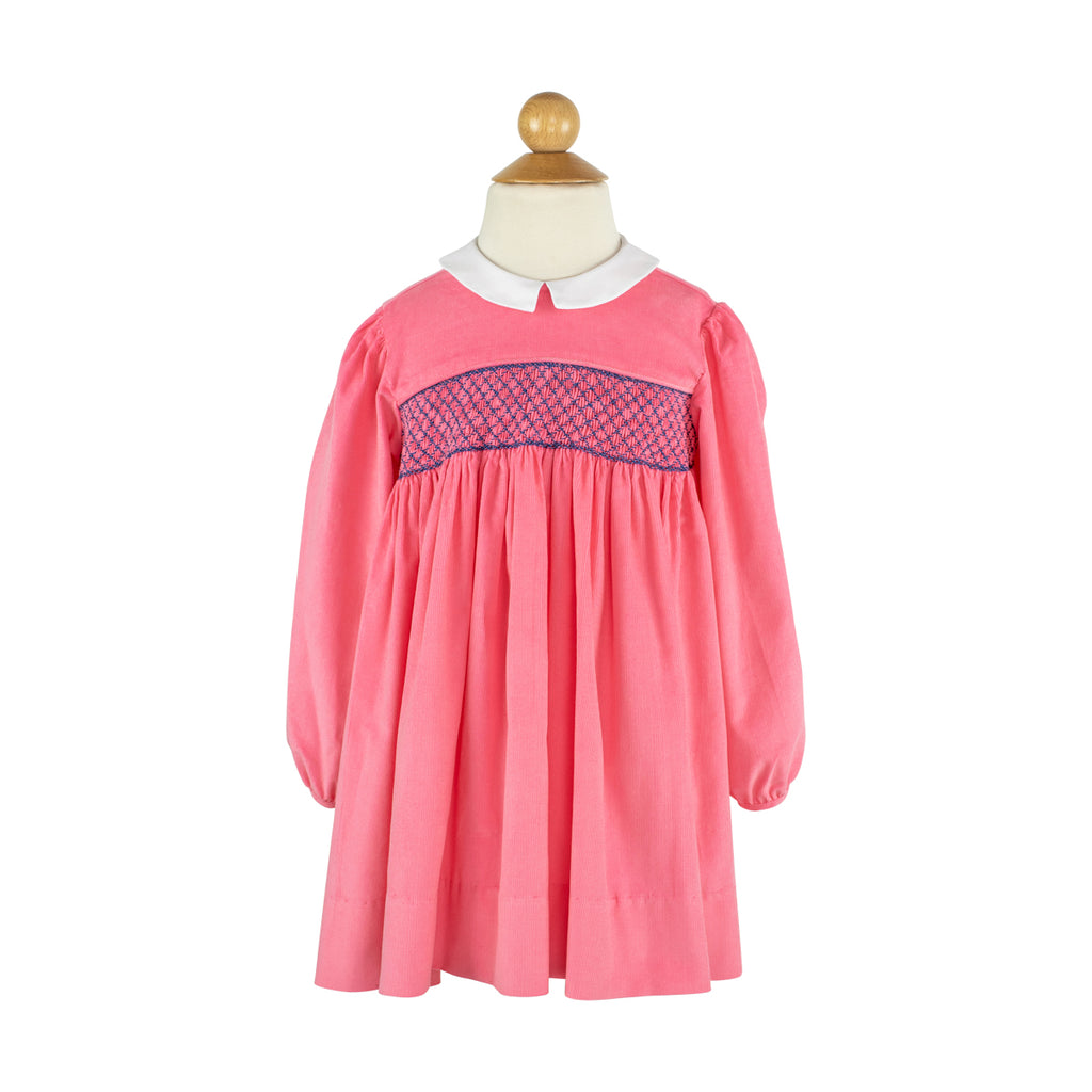 Smocked Princess Dress- Living Coral Corduroy