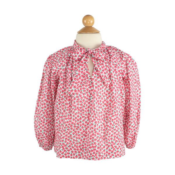 Ruffle Bow Blouse-Red Poppies-AKF