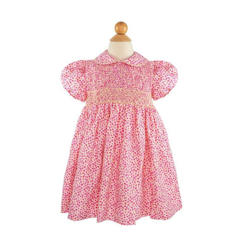 Smocked Frock- Pink Linen Flowers
