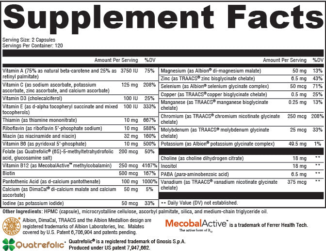 MultiNutrients without Iron Supplement Facts