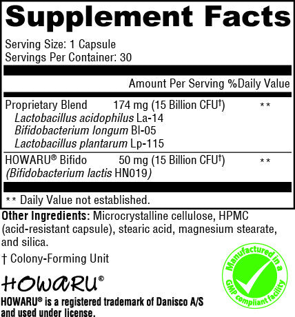 Supplement Facts Label for Probiotic Daily Dairy Free from Physician Nutrients