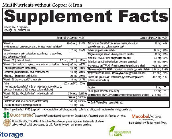 MultiNutrients without Copper & Iron Supplement Facts