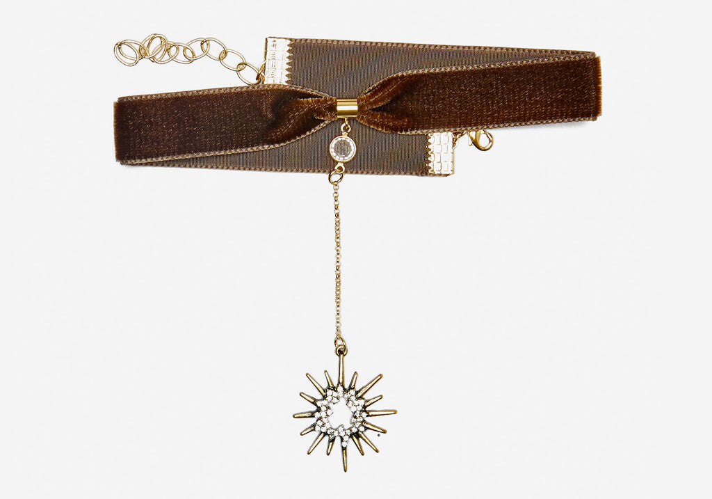Saturday Night Fever Choker - Olive Starburst