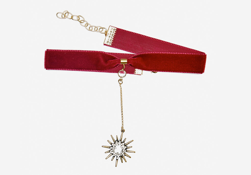 Saturday Night Fever Choker - Maroon Starburst