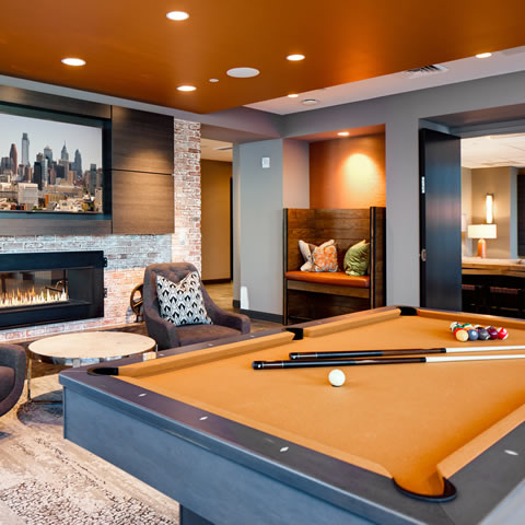 Commercial Billiard Room Design - 3737 Chestnut Luxury Apartments
